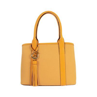 Bolsa Satchel con Colgante en Color Amarillo