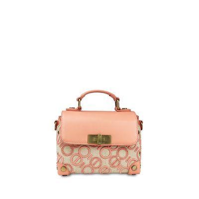 Bolsa Briefcase con Tejido de Logo en Color Coral