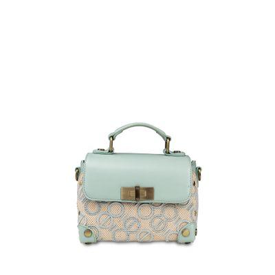 Bolsa Briefcase con Tejido de Logo en Color Menta