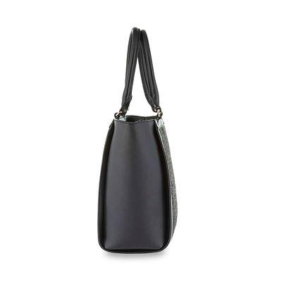 Bolsa Tote Tejida en Color Negro