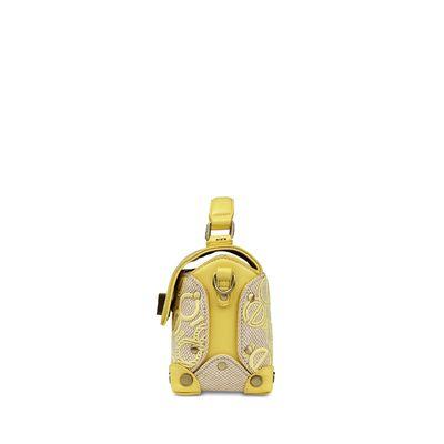 Bolsa Briefcase con Tejido de Logo en Color Amarillo
