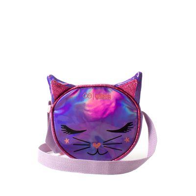 Crossbody Brilloso Cara De Gato Color Lila