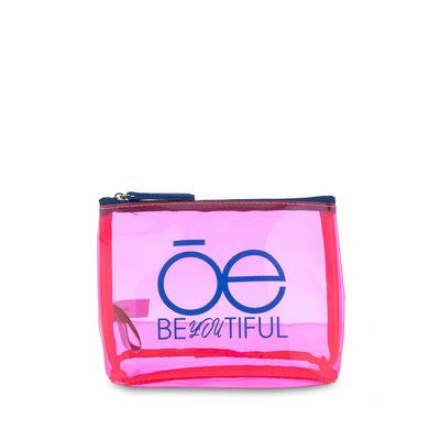 Cosmetiquera Material Transparente en Color Rosa