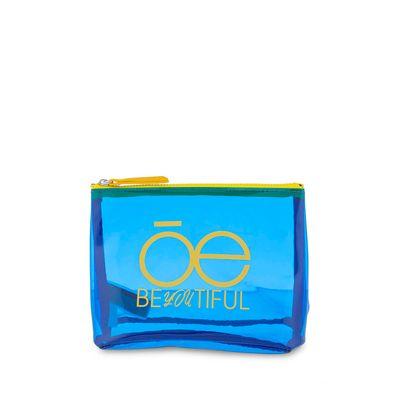 Cosmetiquera Material Transparente en Color Electrico