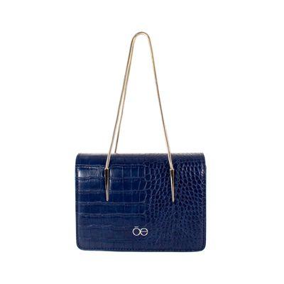 Bolsa Briefcase Look Animal Skin Color Azul Marino