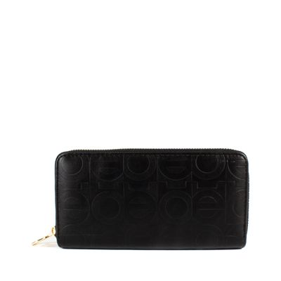 Cartera Grande Cierre Doble Color Negro