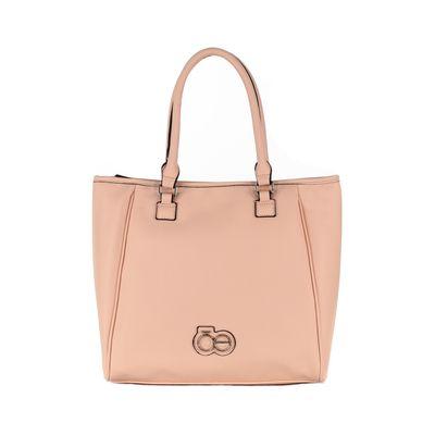 Bolsa Satchel Grande Con Asa Larga Adicional Color Rosa