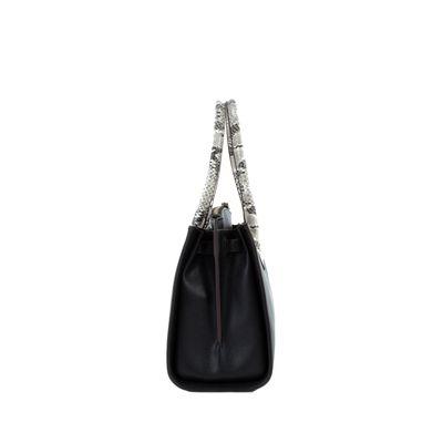 Bolsa Satchel Mediana Con Yuxtaposición De Materiales Color Negro