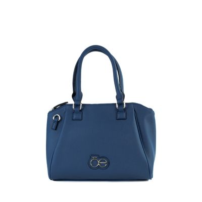 Bolsa Satchel Mediana Con Asa Larga Adicional Color Azul