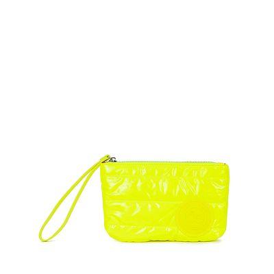 Cartera Pouch Abullonada Color Amarillo Limón