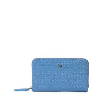Cartera De Charol Troquelado Color Azul