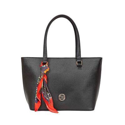 Bolsa Tote Color Negro Con Mascada Floral