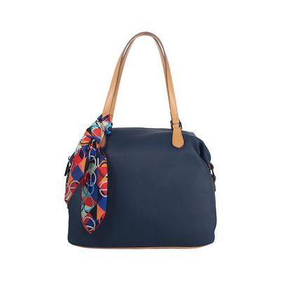 Bolsa Satchel Con Mascada Desprendible Color Azul Marino