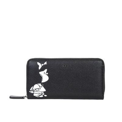 Cartera Grande Cierre Sencillo Mafalda X Oe Color Negro