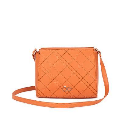 Bolsa Crossbody Bordado De Rombos Color Naranja