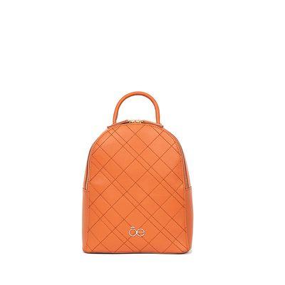 Mochila Bordado De Rombos Color Naranja