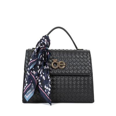Bolsa Briefcase Look Tejido Con Mascada Color Negro
