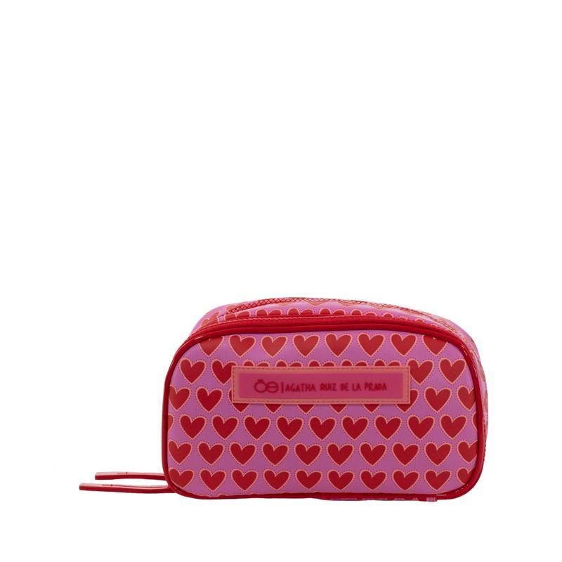 Cosmetiquera-Cloe-by-Agatha-Ruiz-de-la-Prada-Doble-Compartimento-Estampado-Corazones-Color-Rosa-en-Color-Rosa- -Cloe