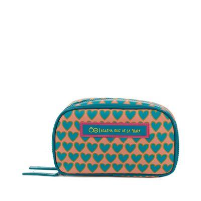 Cosmetiquera Cloe By Agatha Ruiz De La Prada Doble Compartimento Estampado Corazones Color Azul Turquesa