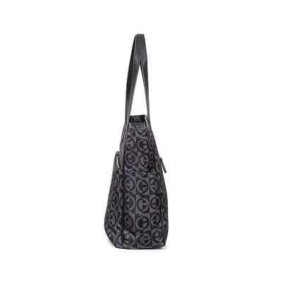 Bolsa Tote Nylon Estampado Color Negro