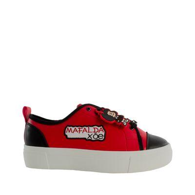 Tenis Plataforma Con Bordado Mafalda X Oe Color Rojo