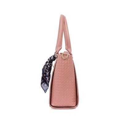 Bolsa Tote Look Tejido Con Mascada Color Rosa