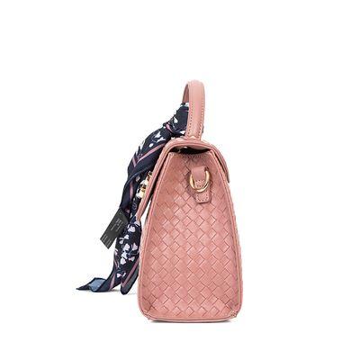 Bolsa Briefcase Look Tejido Con Mascada Color Rosa