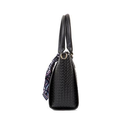 Bolsa Tote Look Tejido Con Mascada Color Negro
