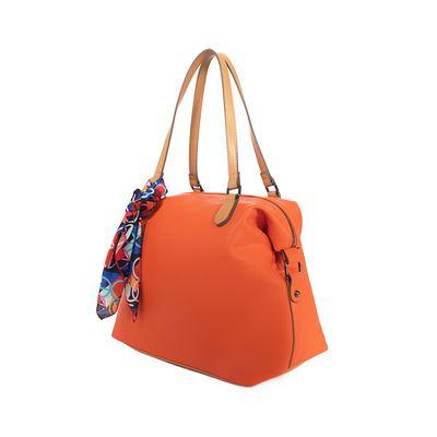 Bolsa Satchel Con Mascada Desprendible Color Naranja