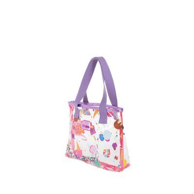 Bolsa Tote Cloe Girls Mica Estampada Caramelos Color Lila