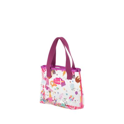 Bolsa Tote Cloe Girls Mica Estampada Caramelos Color Magenta