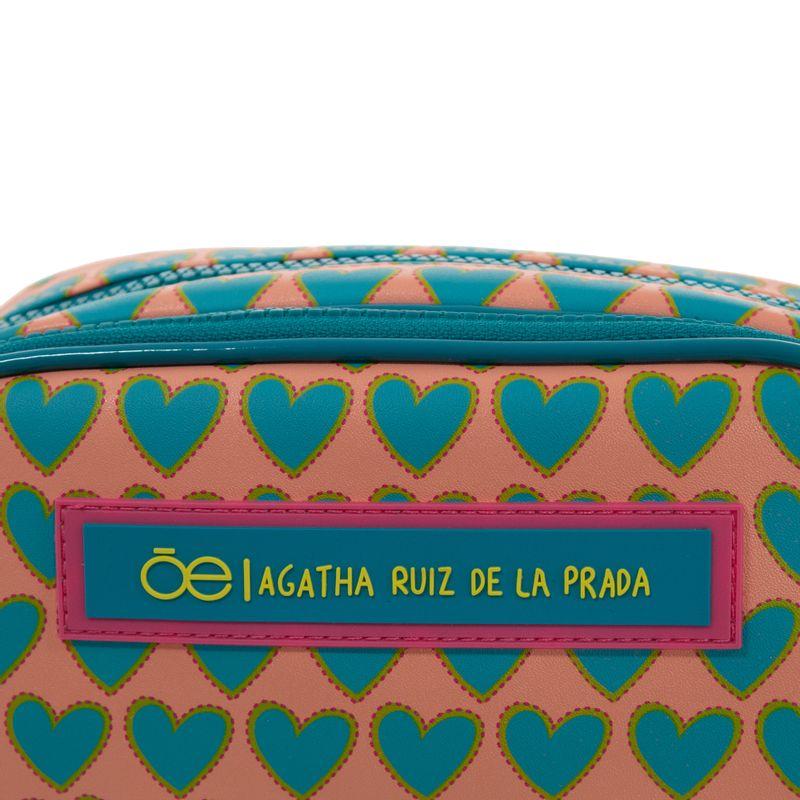 Cosmetiquera-Cloe-by-Agatha-Ruiz-de-la-Prada-Doble-Compartimento-Estampado-Corazones-Color-Azul-Turquesa-en-Color-Turquesa-|-Cloe