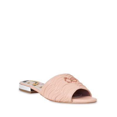 Sandalia Punta Cuadrada material Drapeado en Color Nude