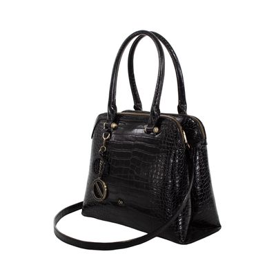 Bolsa Satchel Look Croco Color Negro