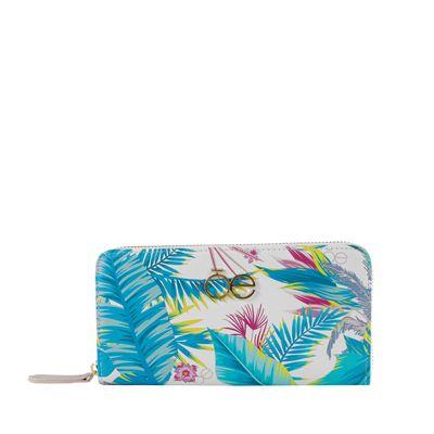 Cartera Grande Cierre Sencillo Estampado Tropical   Multicolor