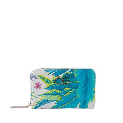 Cartera Mediana Cierre Sencillo Estampado Tropical   Multicolor