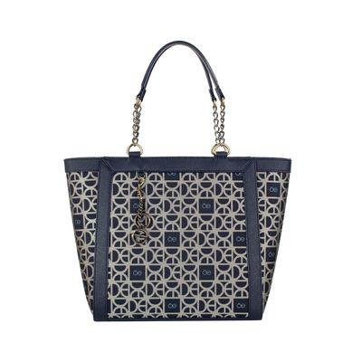 Bolsa Tote De Jacquard Color Azul Marino