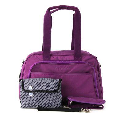 Pañalera  Morada Duffle Bag Con Varios Compartimentos