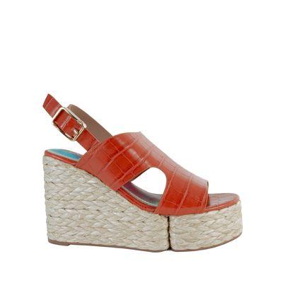 Sandalia Con Plataforma Forrada En Rafia Color Naranja