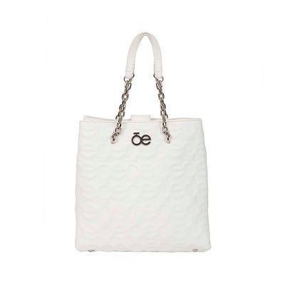 Bolsa Satchel  Troquelada con Asa Cadena color Blanco