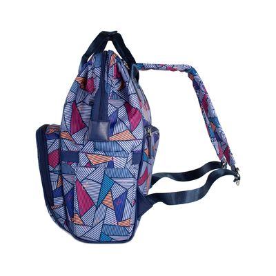 Pañalera Mochila con Estampado Triangular color Azul