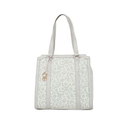 Bolsa Tote con Grabado Monograma color Blanco