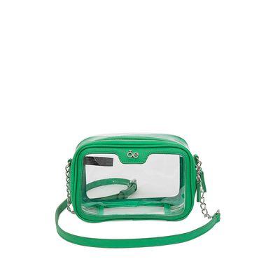 Bolsa Crossbody 2-en-1 De Mica Transparente Color Verde