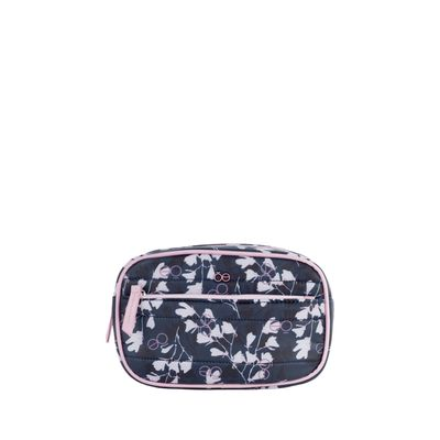 Cosmetiquera Nylon Acolchado Con Estampado Floral Color Azul Marino