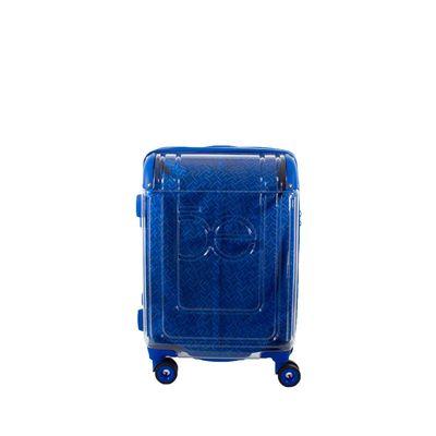 """Maleta Chica 20"""" De Cabina Diseño Transparente Forro Visible Color Azul Eléctrico"""