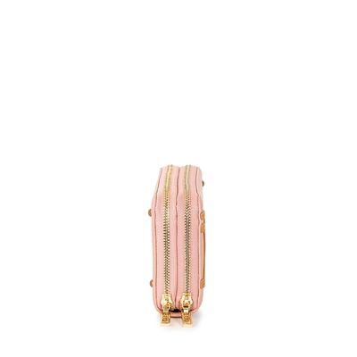 Cartera Grande Cierre Doble Color Rosa