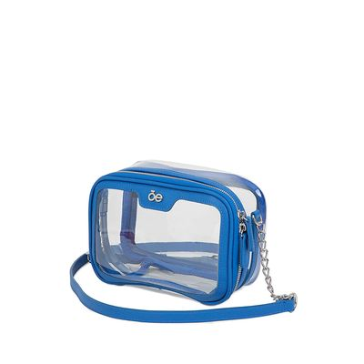 Bolsa Crossbody 2-en-1 De Mica Transparente Color Azul Eléctrico