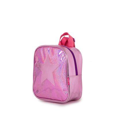 Mochila Metálica Con Flecos Frontales Color Rosa