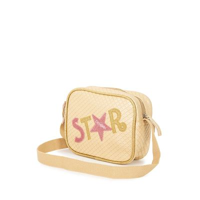 Bolsa Crossbody Troquelado Detalle En Glitter Color Oro