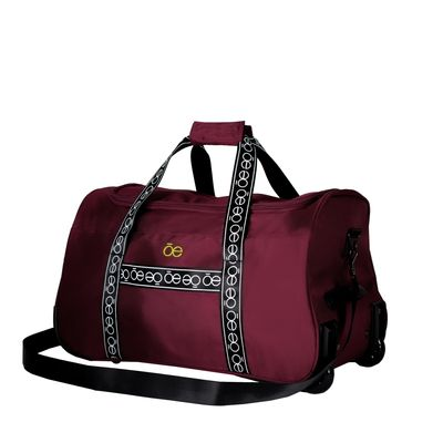 Duffle bag con Ruedas Franja Icónica color Rojo Tinto